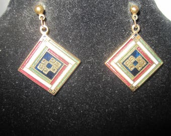 Cloisonne Brooch and Earring set