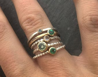 Emerald gold bezel 14kt Gold band stacking ring // handmade jewelry // hammered textured band