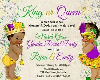Mardi Gras Gender Reveal Invitation, Boy or Girl, King, Queen, Mardi Gras, Invitation, Party - Digital or Printed