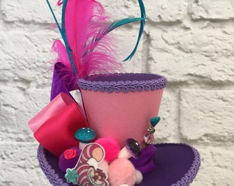 Cheshire Cat Mini Top Hat, Mad Hatter Top Hat, Alice In Wonderland Top Hat, Tea Party Mini Top Hat.