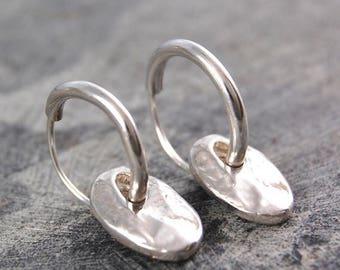 ON SALE NOW Hoops - Hoop Earrings - Boho Earrings - Sterling Silver Earrings - Hammered Earrings - Organic Earrings - Small Hoop Earrings -