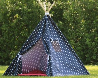 Kids Teepee Play Tent, Navy Polka Dot with Window, Childrens Tepee, Kids Playhouse, Ready to Ship, Fully Assembled