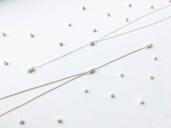 Delicate Pearl Choker Y-Necklace // 14k Gold Filled, 14k Rose Gold Filled, or Sterling Silver