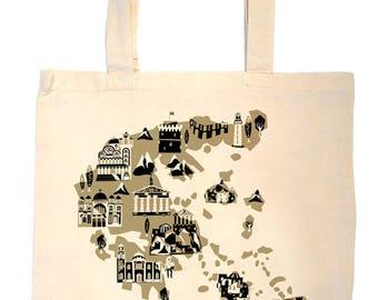 Greece Tote Bag-Country Map Tote-Greece Landmark Bag-Custom Color-Personalized-Custom Wedding Welcome Tote-Athens-Thessaloniki-Santorini