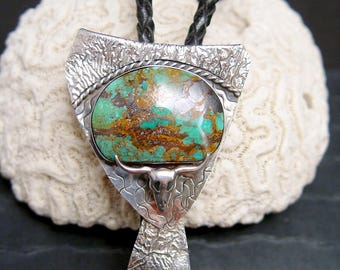 Kingman Turquoise One of A Kind Designer Bolo Tie Sterling Silver Cow Skull Riticulation Textured Sterling