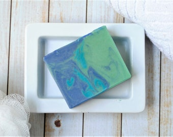Beachy Artisan Soap- Ocean Scented Goat Milk Soap - Sea Moss & Vetiver Homemade Soap - Beach Scented Cold Process Goat Milk Soap - Mens Soap