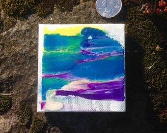 """Abstract original painting, OOAK, miniature abstract, 3x3"""", sacred art, sacred painting, dollhouse, gift"""