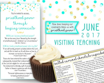 June 2017 Visiting Teaching Message Printables, LDS Relief Society, INSTANT DOWNLOAD, Priesthood Power Through Keeping Covenants