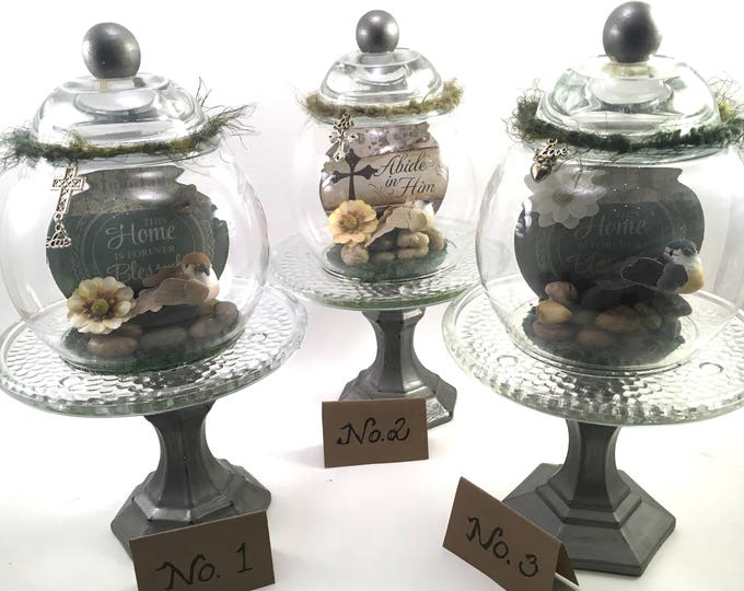 Featured listing image: choice glass cloche apothecary globe on stand with religious plaque, bird, flower & charms