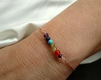 Rose gold chakra bracelet, Chakra bracelet, Gold chakra bracelet,  Meditation jewelry, Gifts