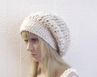 Chunky Thick Slouchy Beanie Hat, Womens Earwarmer Beanie, Oversized Beanie, Fuzzy Hat, Thick Winter Hat by Vikni Designs