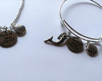 "YOU PICK Little Mermaid Inspired ""Part of your world"" Charm Bangle Or Charm Necklace"