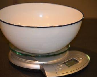 Enameled Bowl, White with Black edge