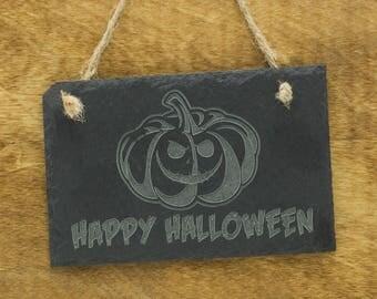 Happy Halloween Pumpkin Slate Sign - Jack-o-Lantern Slate Sign - Trick or Treaters - Halloween Engraved Pumpkin Slate Sign - Happy Halloween