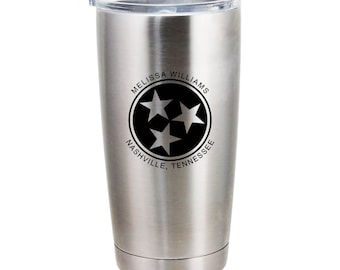 Tennessee Tri-Star Stainless Steel Tumbler - 20 Ounce - Personalized Name and City