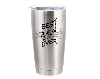 Best Dad Ever - Musical Note - 20 Ounce Stainless Steel Tumbler