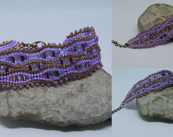 Purple and bronze Czech glass and Japanese seed beads woven bracelet