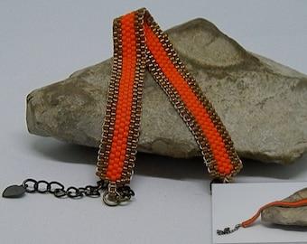 Orange and bronze bead weaving bracelet *.