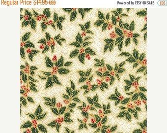 Christmas in July SALE Holiday Flourish 10~Holly & Berries Holiday~16565-223 Christmas Cotton Fabric by Kaufman~Fast Shipping HC465