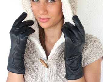 Leather Gloves, Women Gloves, Leather Wool Gloves, Warm Gloves, Black Gloves, Winter Gloves, Gift for Her, Wife Gift, Leather Gloves Women