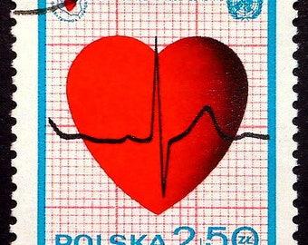 Red heart, Heart health -Handmade Framed Postage Stamp Art 22235AM