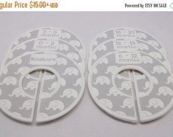 SALE Custom Closet Dividers Gray Nursery Elephant Nursery Baby Shower Gift Closet Organizer FINISHED PRODUCT Cd295A