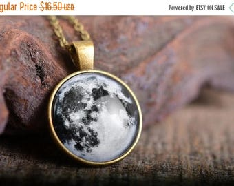 20% OFF Full moon pendant, full moon necklace, moon necklace, antique brass pendant, glass dome pendant, antique brass necklace, glass dome