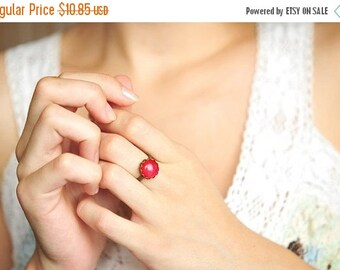 20% OFF Little red ring, adjustable ring, statement ring, antique brass ring, glass dome ring, antique bronze ring, jewelry gift, some magic