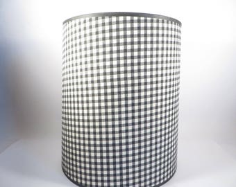 Mid Century Black Gingham Paper Lamp Shade - Vintage Drum Black Gingham Lampshade