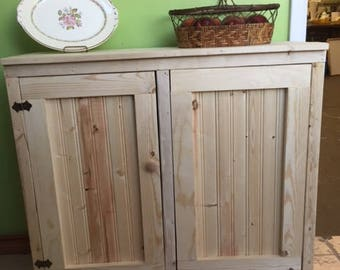 Handcrafted Primitive Pine Double Wood Trash Can With Side Cabinet