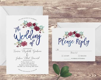 The Floral Watercolor Wedding Invitation and RSVP Set, Navy Blue Wedding Invitation, Watercolor Wedding Invite, Customized Wedding Invite
