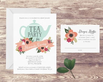 Tea Party Baby Shower Invitation with Diaper Raffle Insert Card, Invitation for Baby Shower Tea Party, Baby Sprinkle, Insert for Diaper Game