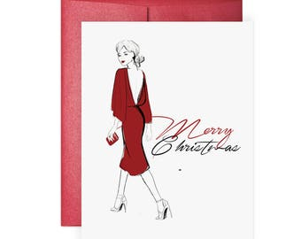 Merry in Red - Greeting Card, Fashion Card, Illustration, Christmas Card, Holiday Card, Festive Card