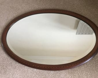 Large Victorian Mahogany-inlaid Wall Mirror (collect from NE26)