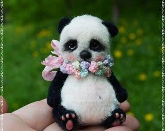 Mini baby Panda -teddy- bears- amigurumi-ooak-artist- stuffed bear-panda -knitted toy-Stuffed Panda Bear