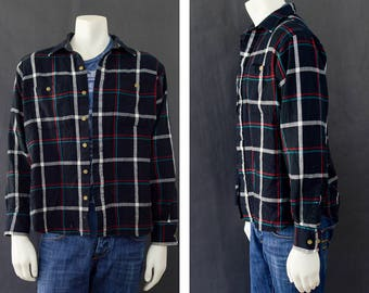 Vintage Men's Long Sleeve Shirt, Arrow Sport Plaid Flannel Button Down, Men's Camp Shirt, Layering Shirt, Gift for him, Men's Size Large