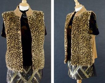 Vintage Animal Print Faux Fur Vest, Zip Up Fur Vest, Modern Winter Vest, Vegan Fur Vest, Boho Rock Chic Style, Women's Plus Size 14 Vest
