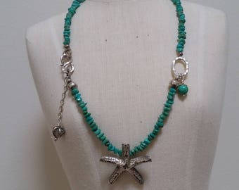 Turquoise and sterling silver starfish necklace.