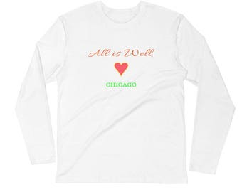 All is Well Chicago Long Sleeve Fitted Crew
