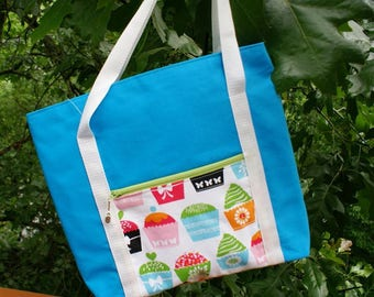 REDUCED price/ Canvas tote/ turquoise blue /CUPCAKES/medium sized/zippered pouch/polypro webbing handles/150056