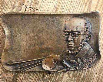 Antique Bronze Tray with Self Portrait of Artist Sculptor  Adolf  von Menzel Pallet and Brushes