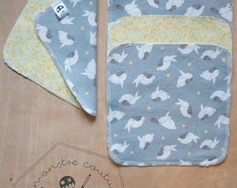 Set of 5 Washcloths - rabbits