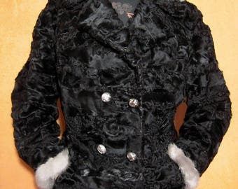 Real fur coat jacket broadtail persian with mink