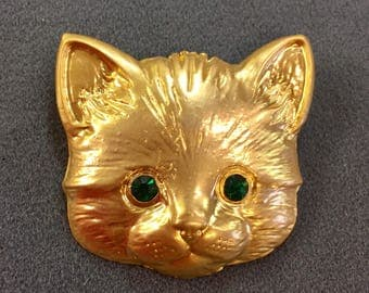 Big Cat Brooch with Green Rhinestone Eyes.  Free shipping