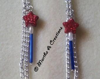 Red, White & Blue Dangle Pierced Earrings