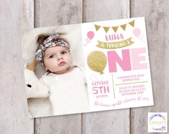 Custom Edited Girls First Birthday Invitation - JPG / PDF - Gold Sparkles design - Photo Insert optional - 7 x 5 inch or 5 x 7 inch size