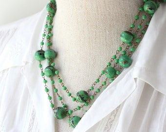 Long Beaded Necklace, 1920s Flapper Necklace, Art Deco Beaded Necklace,  Green Glass Bead Statement Necklace