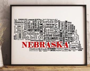Nebraska Map Art, Nebraska Art Print, Nebraska City Map, Nebraska Typography Art, Nebraska Wall Decor, Nebraska Moving Gift