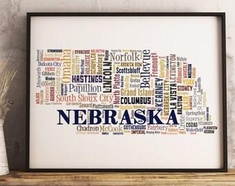 Nebraska Map Art, Nebraska Art Print, Nebraska City Map, Nebraska Typography Art, Nebraska Poster Print, Nebraska Word Cloud