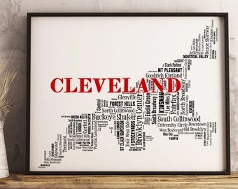 Cleveland Map Art, Cleveland Art Print, Cleveland Neighborhood Map, Cleveland Typography Art, Cleveland Wall Decor, Cleveland Moving Gift